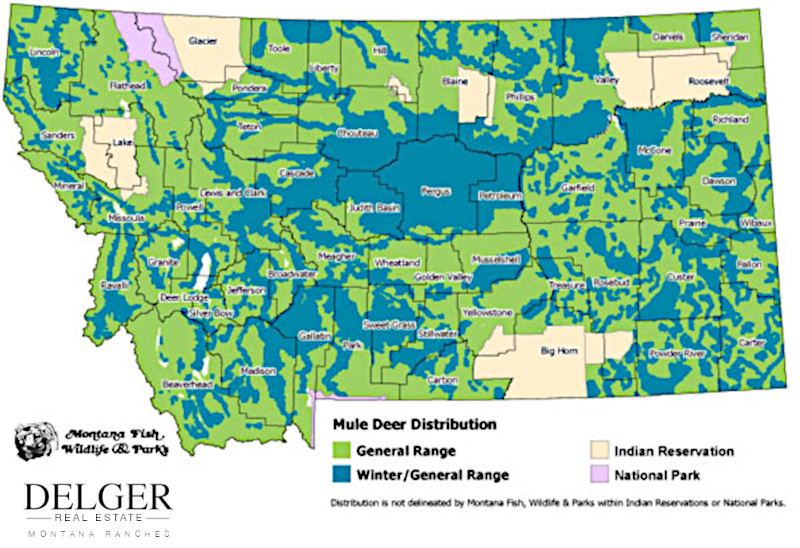 Montana Mule Deer Hunting Property Map